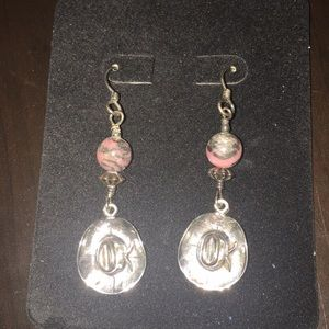 Silver & Rhodochrosite Cowgirl Hat Earrings
